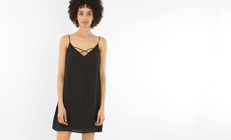 Kleid mit gekreuztem Ausschnitt Schwarz