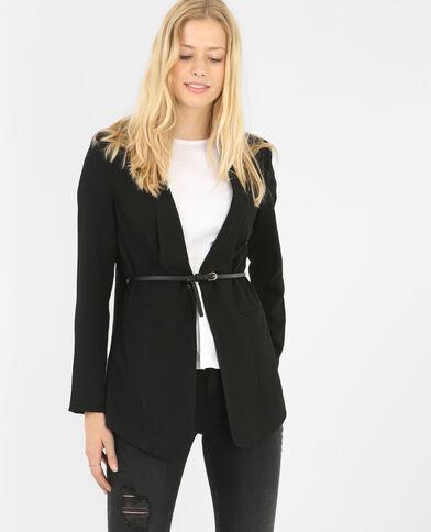 Jacke aus Krepp mit Gürtel Schwarz