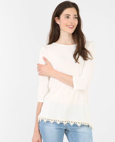 T-shirt incrociata sul dorso bianco sporco