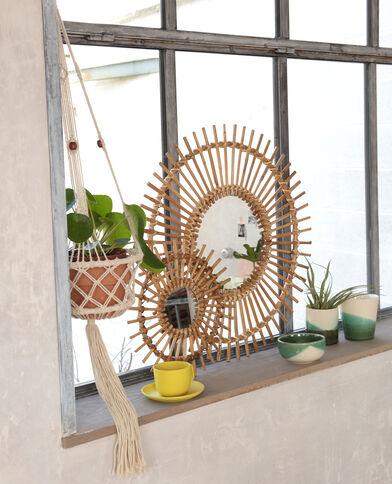 Specchio a forma di sole rattan beige
