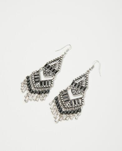 Orecchini con perle e strass grigio paillettato
