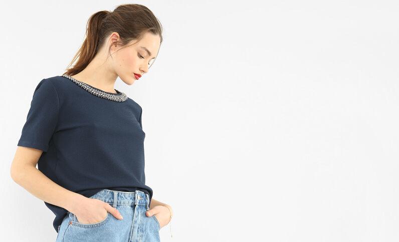 T-Shirt mit Zierausschnitt Marineblau