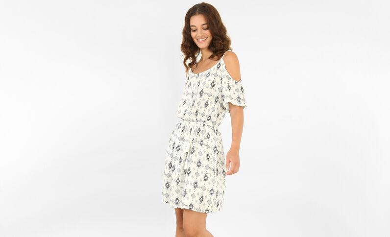 Schön fallendes Kleid mit Peekaboo-Ärmeln Altweiß