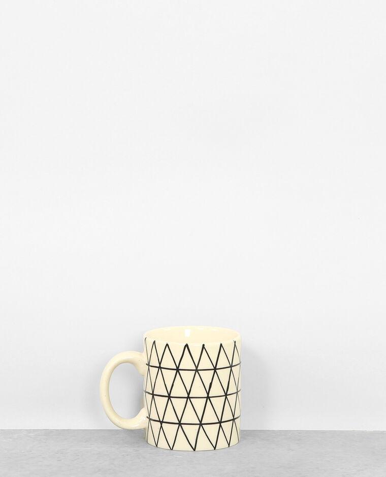 Mug à imprimé géométrique écru