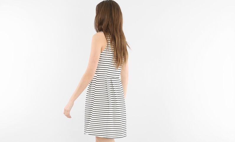 Skater-Kleid mit Schmuck-Kragen Altweiß