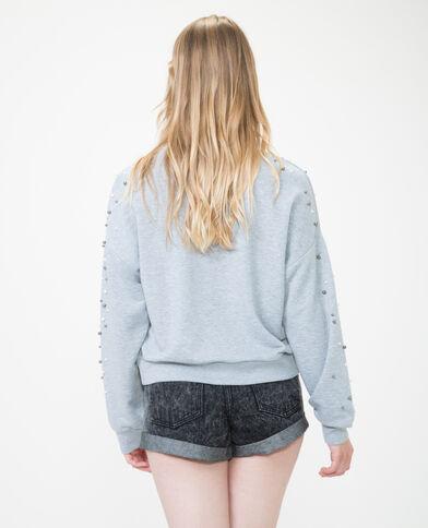 Sweatshirt mit Perlen Grau meliert