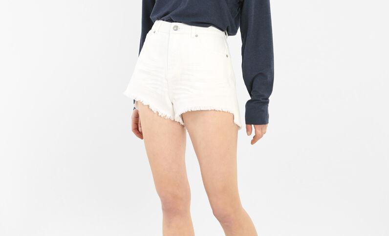 Shorts denim deshilachados blanco
