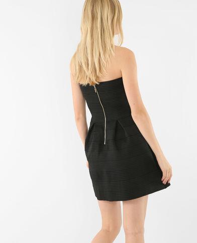 Korsagenkleid aus strukturiertem Material Schwarz