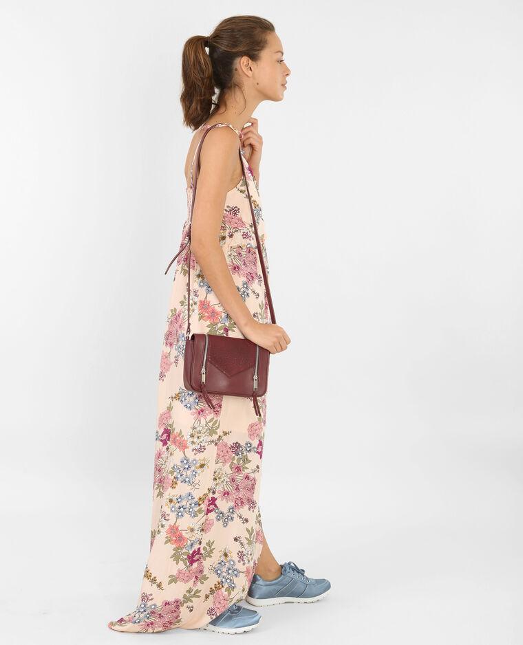 Langes Kleid mit Blumen-Print Zartrosa