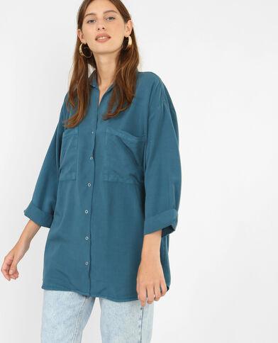 Soepelvallend geborduurd hemd eendenblauw