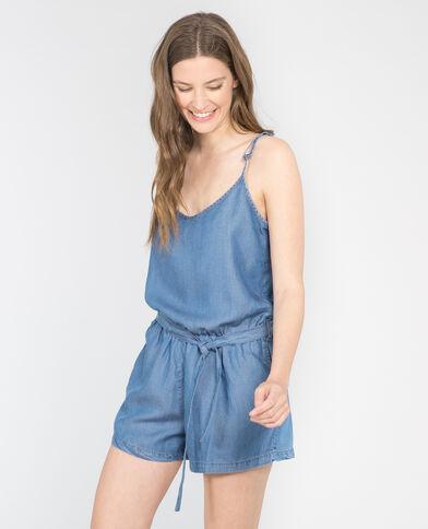 Salopette corta in jeans morbido blu denim