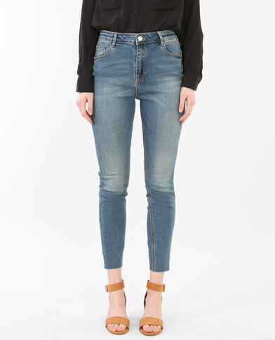 Jean skinny 7/8 taille hauteraw cut bleu délavé