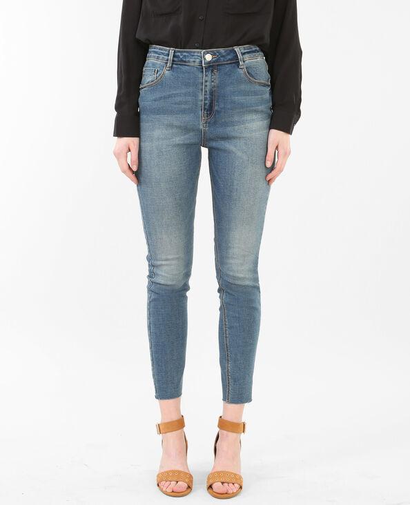 7/8-Skinny-Jeans mit hoher Taille und Raw Cut Verwaschenes Blau