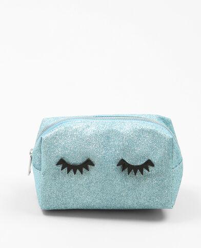 Trousse per il trucco glitter blu