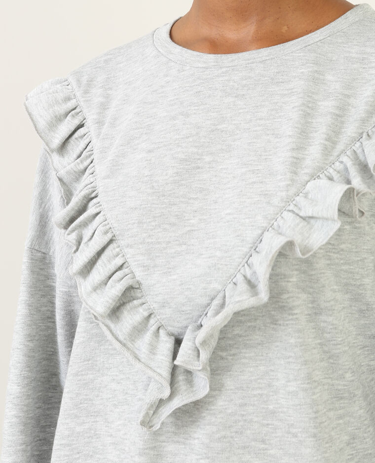 Sweatshirt-Kleid mit Rüschen Grau meliert
