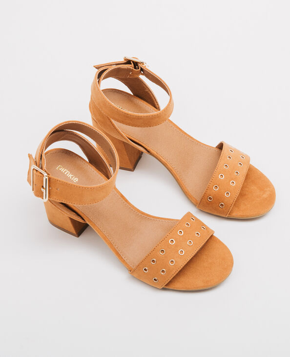 Sandalias banda remachada marrón