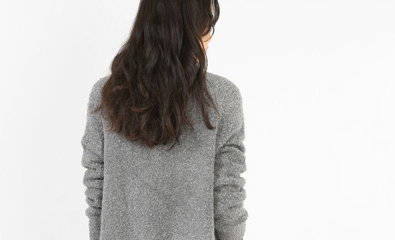 Long gilet zippé gris