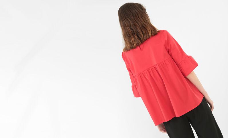 Ausgestellte Popeline-Bluse Rot