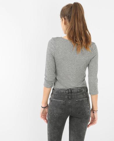 T-shirt encolure lacet gris