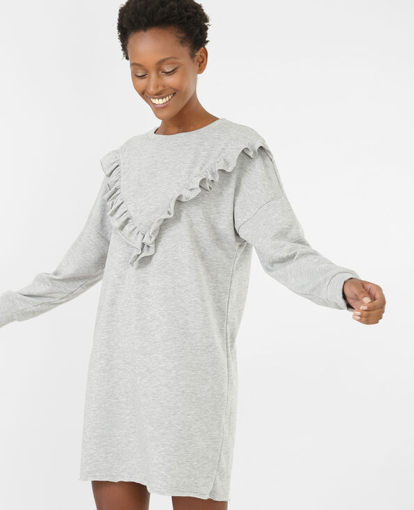 Robe sweat à volants gris chiné