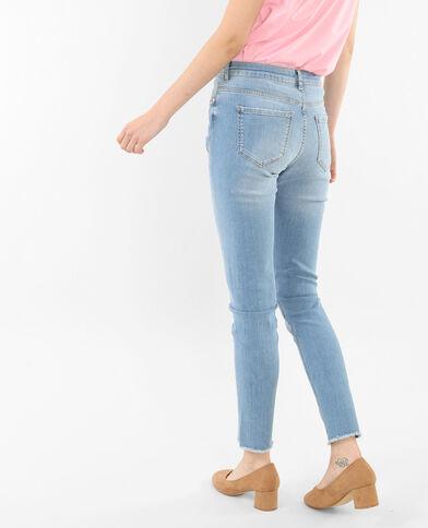 Jeans slim estampado floral azul lavado