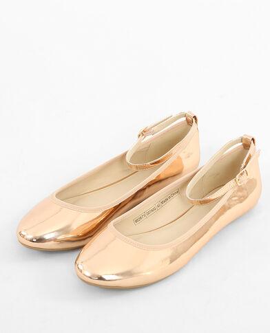 Ballerina's met afneembaar bandje koperrood
