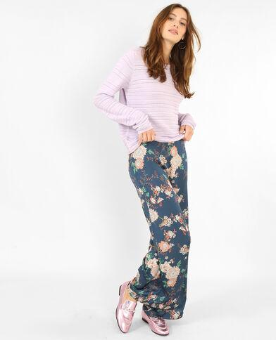 Trui van opengewerkt tricot violet