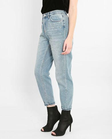 Mom-Jeans mit Perlen Blau