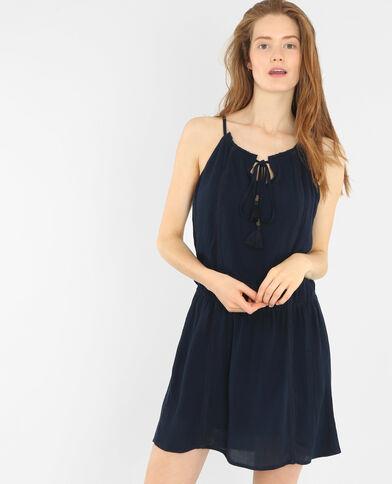Kleid aus Krepp Dunkelblau