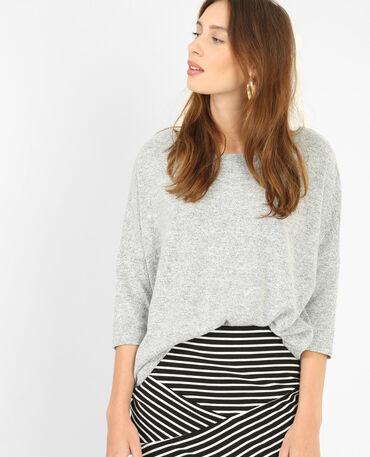 Weicher Pullover Grau meliert