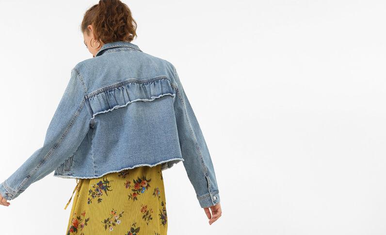 Jeansjacke mit Volants Blau