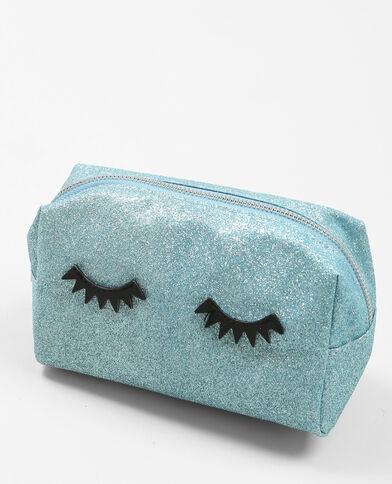 Trousse makeup glitter bleu