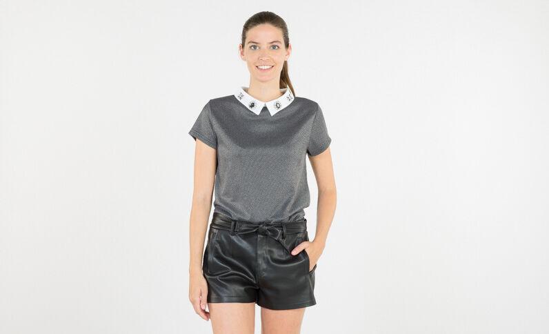T-shirt bijoux col chemise gris