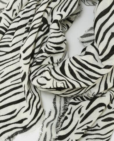Sciarpa stampa zebrata bianco sporco