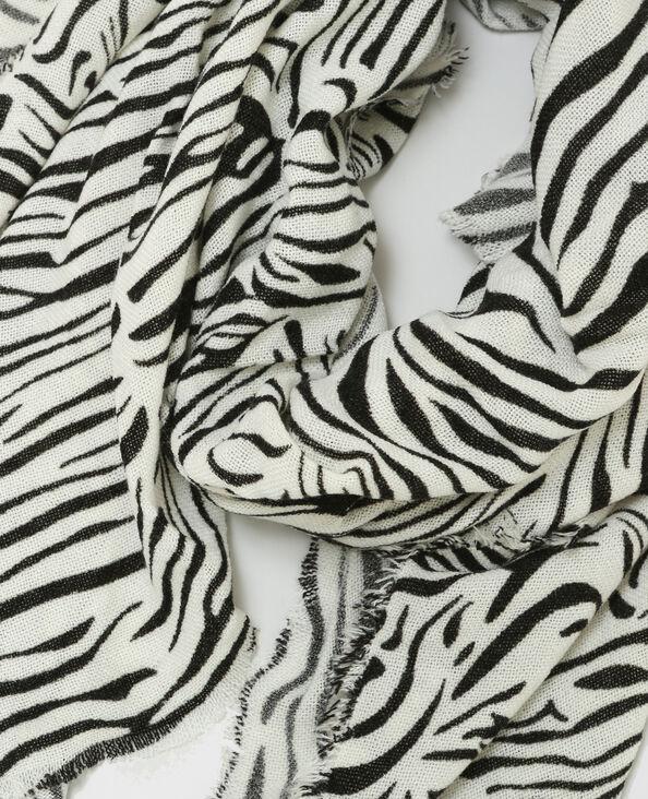 Echarpe imprimé zèbre blanc cassé