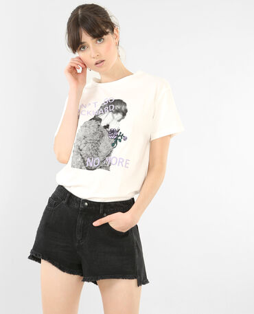 T-shirt brodé à message blanc