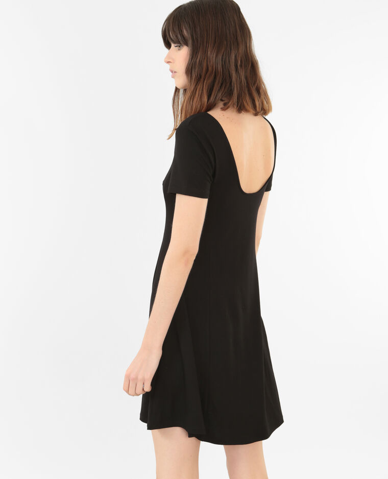 trapez kleid mit rundem r ckenausschnitt schwarz. Black Bedroom Furniture Sets. Home Design Ideas