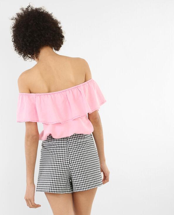 Bardot-Bluse mit Rüschen Rosa