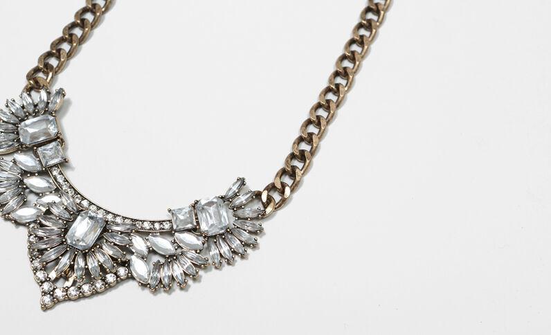 Collier chaîne et strass blanc doré