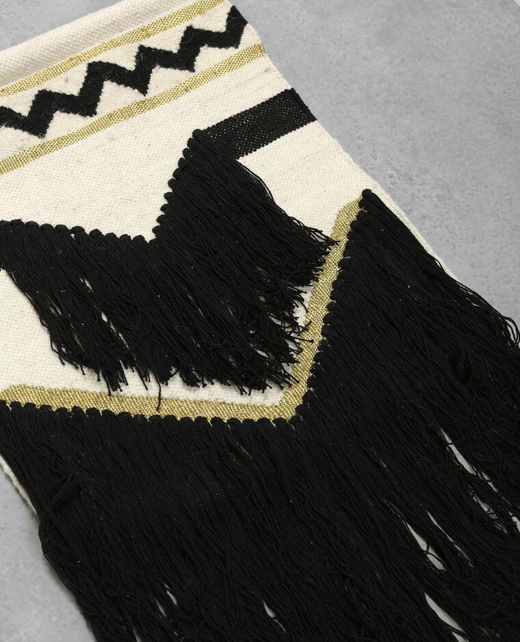 Tapisserie murale tissée bandes dorées. noir