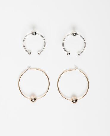 Lot de 2 boucles d'oreilles anneaux rose
