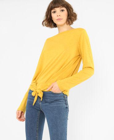 T-shirt om vast te knopen mosterdgeel