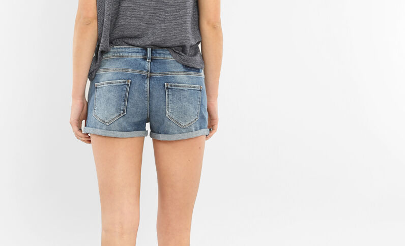 Mini short patch bleu denim
