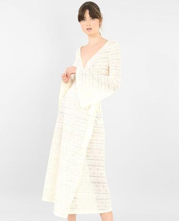 Robe longue en dentelle blanc cassé