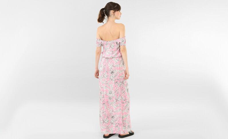 Langes Kleid mit Bardot-Ausschnitt Rosa