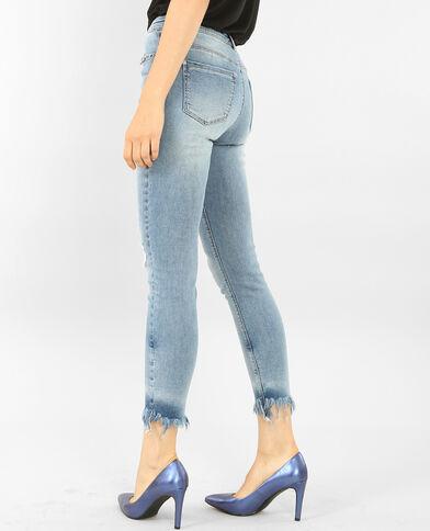 Jeans skinny con frange e occhielli blu