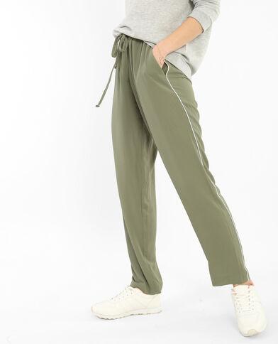 Soepelvallende jogpants met bandjes groen