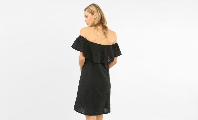 Kanten jurk met bardothals zwart