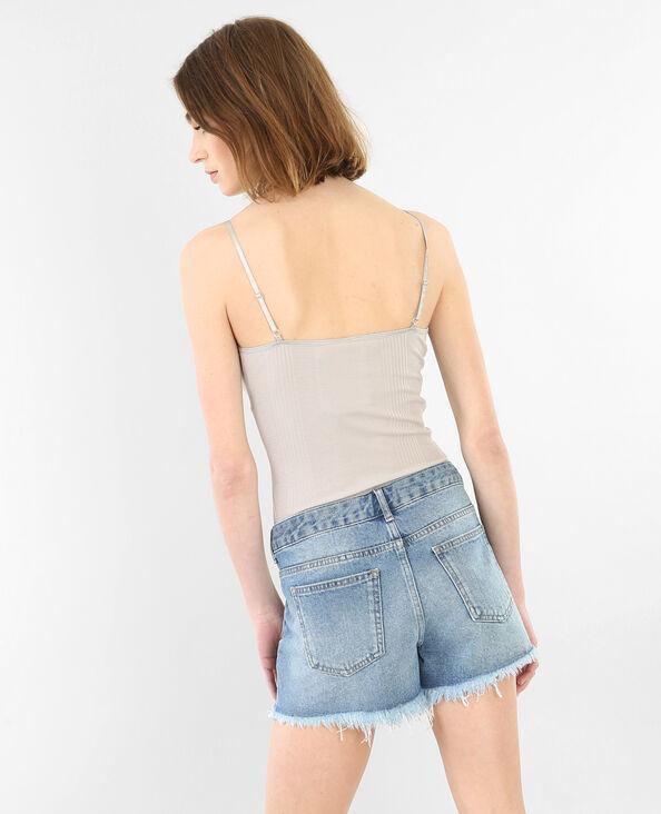 Body homewear côtelé gris perle