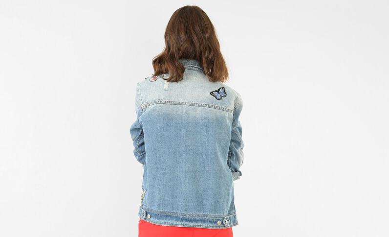 Veste denim à patchs bleu